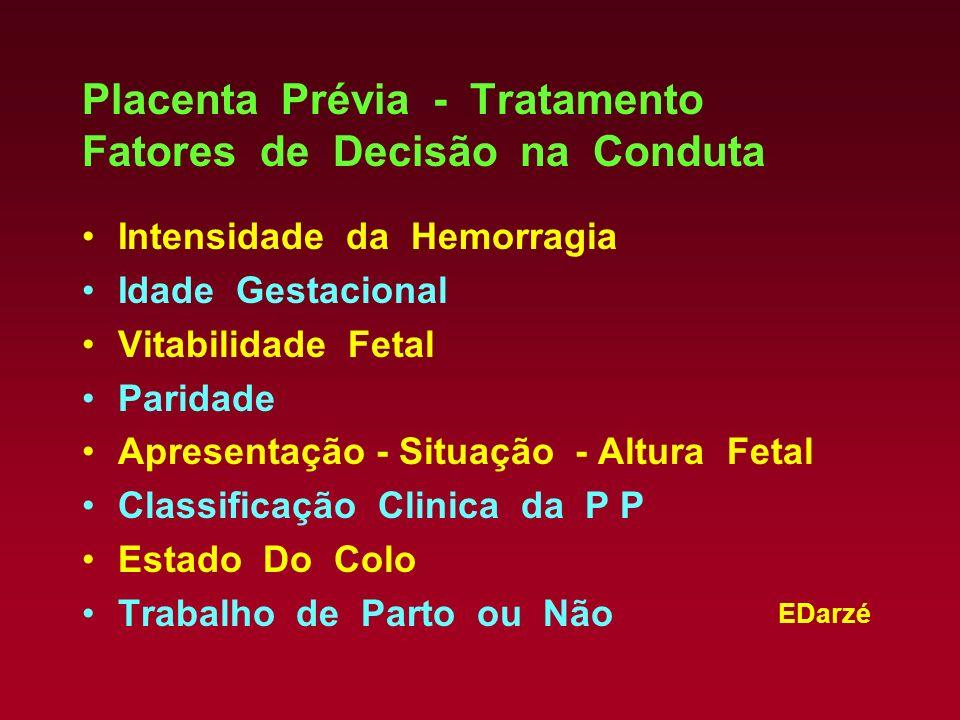 Placenta Prévia - Tratamento Fatores de Decisão na Conduta