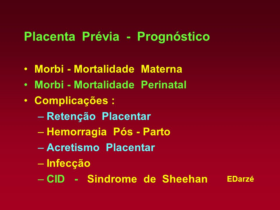 Placenta Prévia - Prognóstico