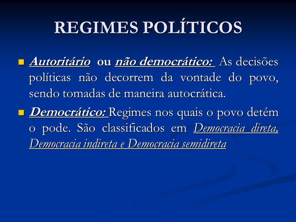 REGIMES POLÍTICOS Autoritário ou não democrático: As decisões políticas não decorrem da vontade do povo, sendo tomadas de maneira autocrática.