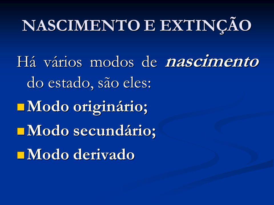 NASCIMENTO E EXTINÇÃO Há vários modos de nascimento do estado, são eles: Modo originário; Modo secundário;