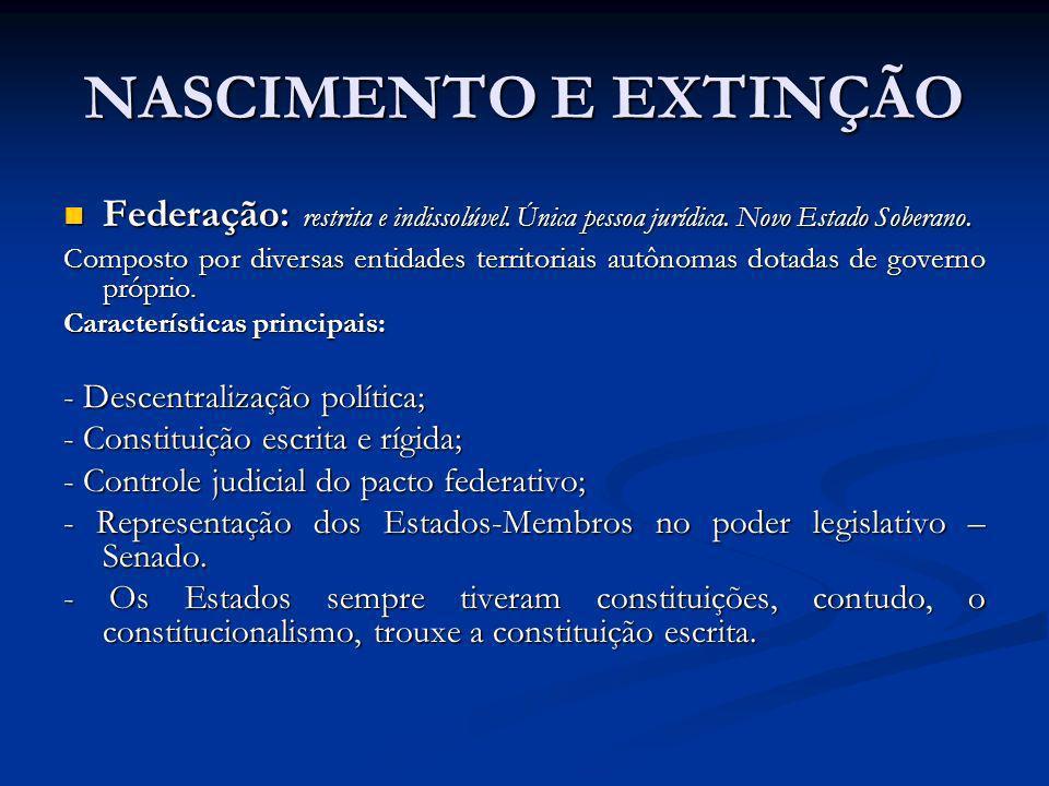 NASCIMENTO E EXTINÇÃO Federação: restrita e indissolúvel. Única pessoa jurídica. Novo Estado Soberano.