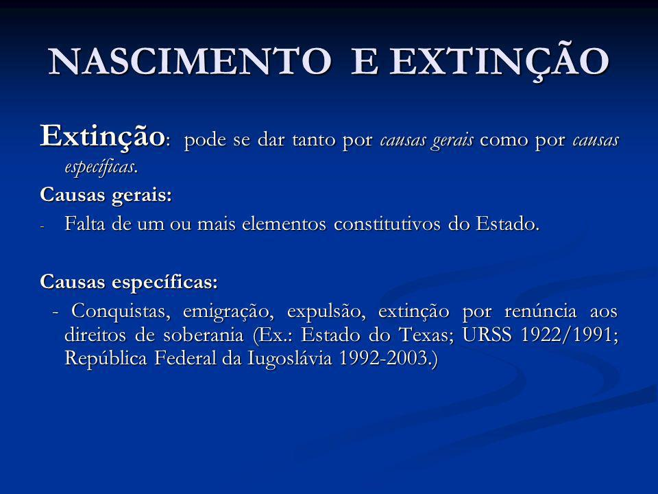 NASCIMENTO E EXTINÇÃO Extinção: pode se dar tanto por causas gerais como por causas específicas. Causas gerais: