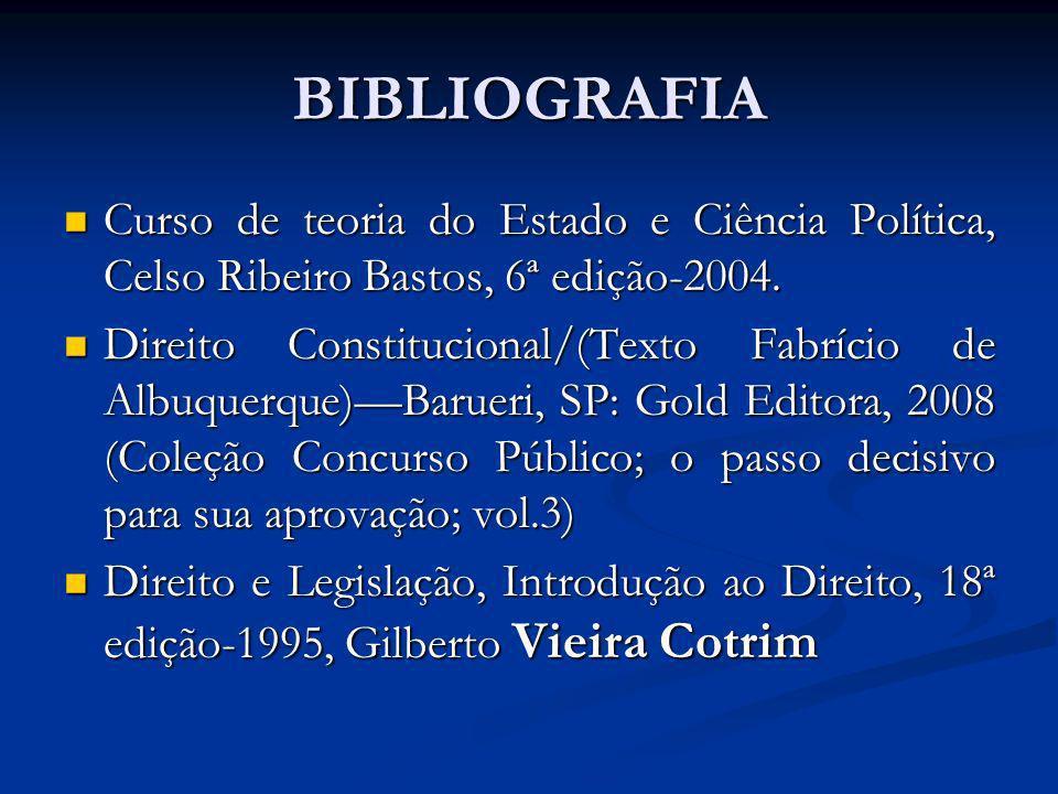 BIBLIOGRAFIA Curso de teoria do Estado e Ciência Política, Celso Ribeiro Bastos, 6ª edição-2004.