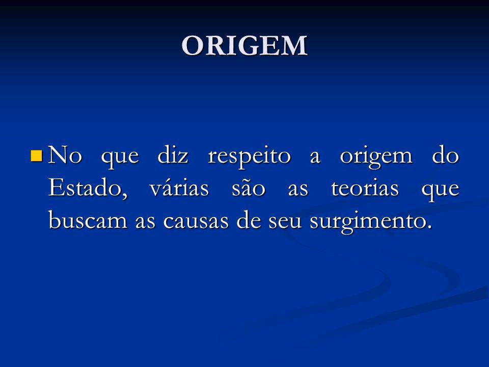 ORIGEM No que diz respeito a origem do Estado, várias são as teorias que buscam as causas de seu surgimento.