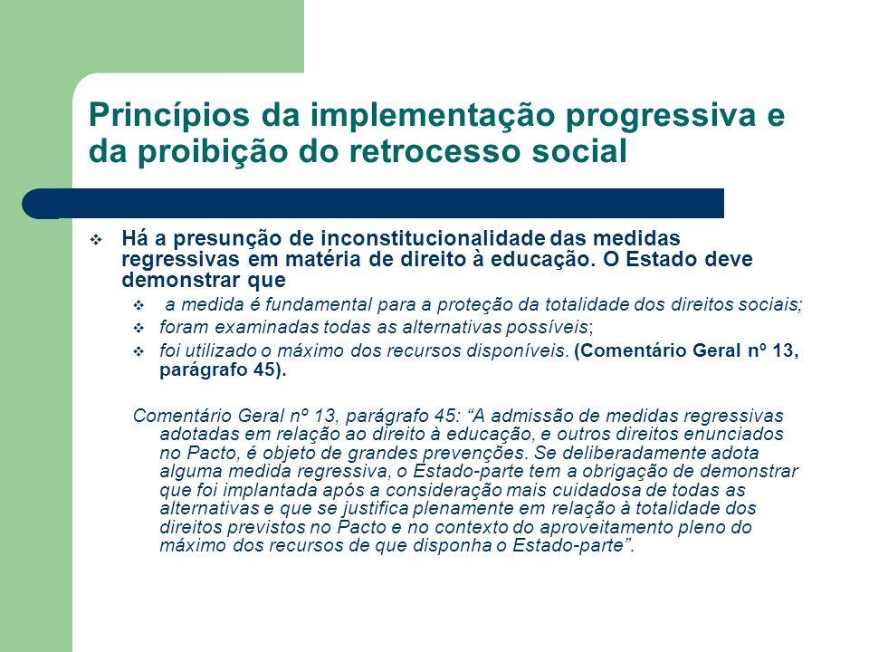 Princípios da implementação progressiva e da proibição do retrocesso social