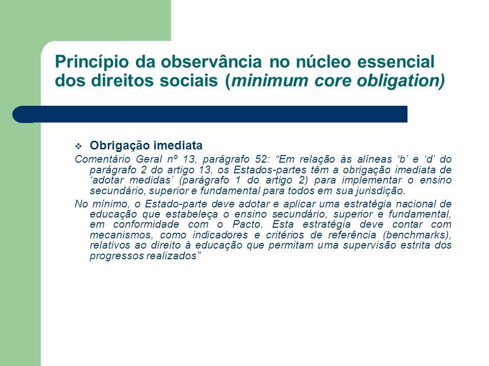 Princípio da observância no núcleo essencial dos direitos sociais (minimum core obligation)