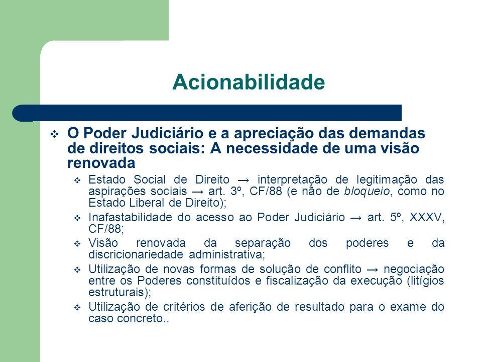 Acionabilidade O Poder Judiciário e a apreciação das demandas de direitos sociais: A necessidade de uma visão renovada.