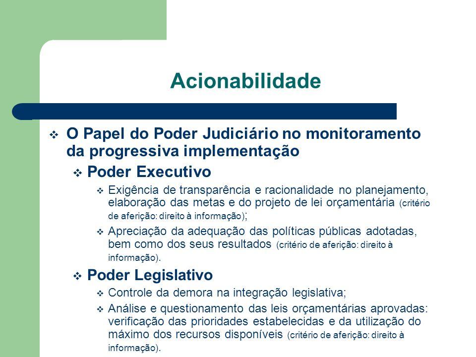 Acionabilidade O Papel do Poder Judiciário no monitoramento da progressiva implementação. Poder Executivo.