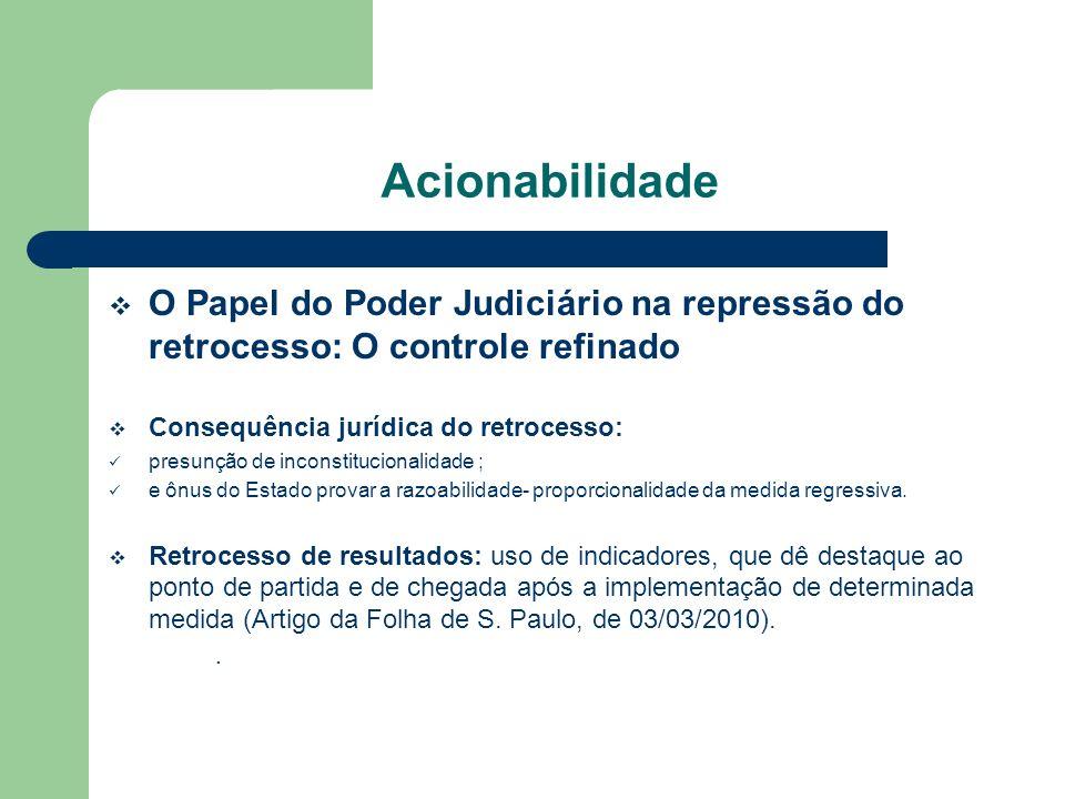 Acionabilidade O Papel do Poder Judiciário na repressão do retrocesso: O controle refinado. Consequência jurídica do retrocesso: