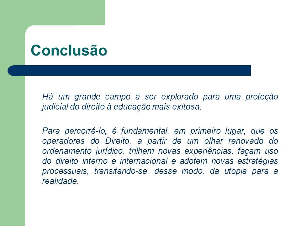 Conclusão Há um grande campo a ser explorado para uma proteção judicial do direito à educação mais exitosa.