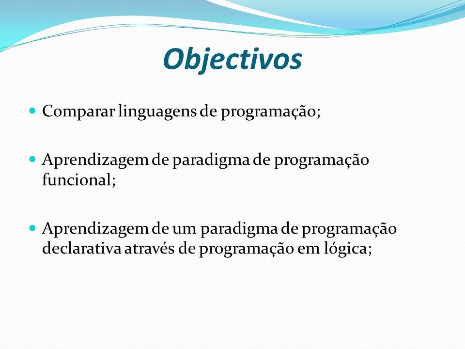 Objectivos Comparar linguagens de programação;