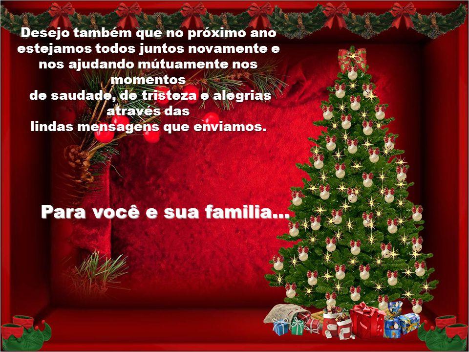 Para você e sua familia... Desejo também que no próximo ano