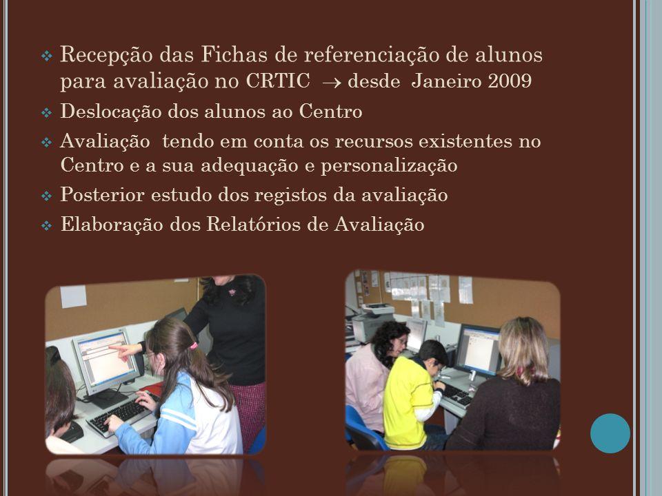 Recepção das Fichas de referenciação de alunos para avaliação no CRTIC  desde Janeiro 2009