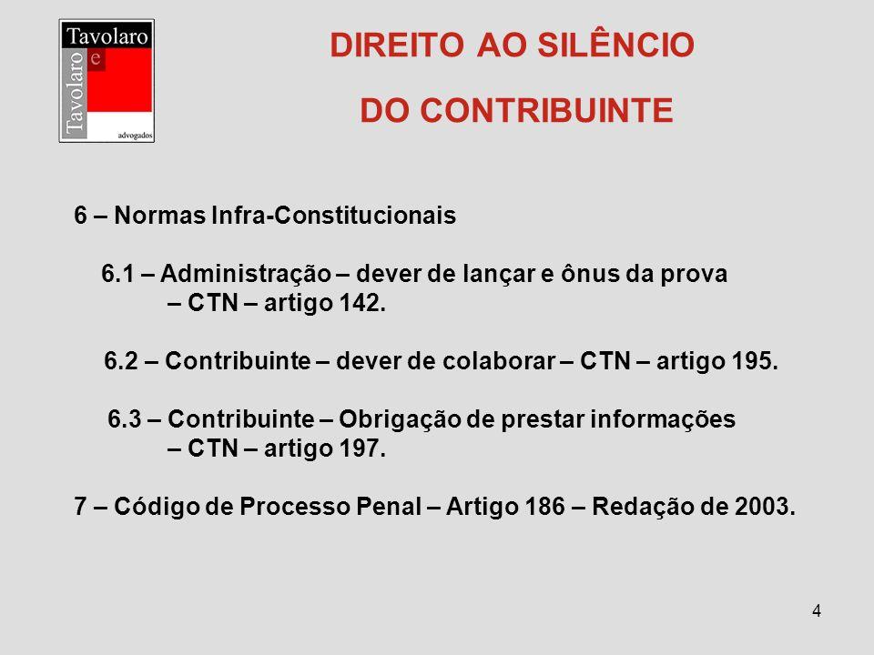 DIREITO AO SILÊNCIO DO CONTRIBUINTE