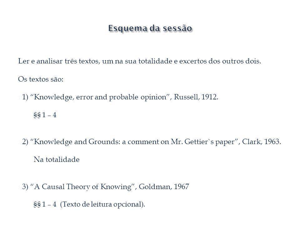 Esquema da sessão Ler e analisar três textos, um na sua totalidade e excertos dos outros dois. Os textos são:
