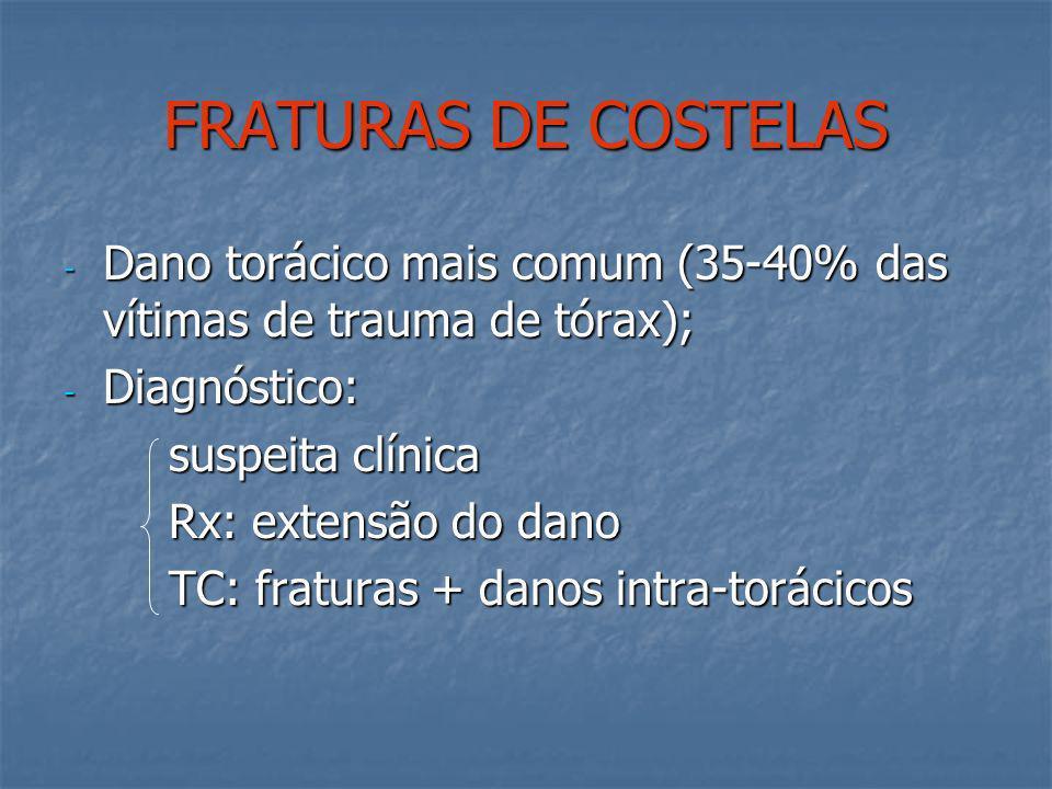 FRATURAS DE COSTELAS Dano torácico mais comum (35-40% das vítimas de trauma de tórax); Diagnóstico: