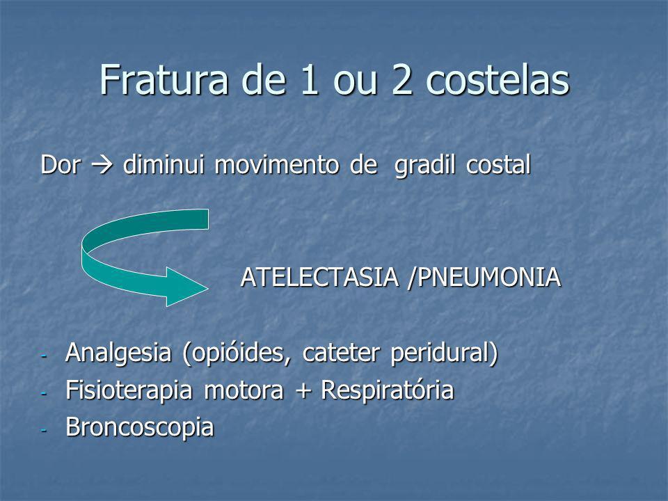 Fratura de 1 ou 2 costelas Dor  diminui movimento de gradil costal