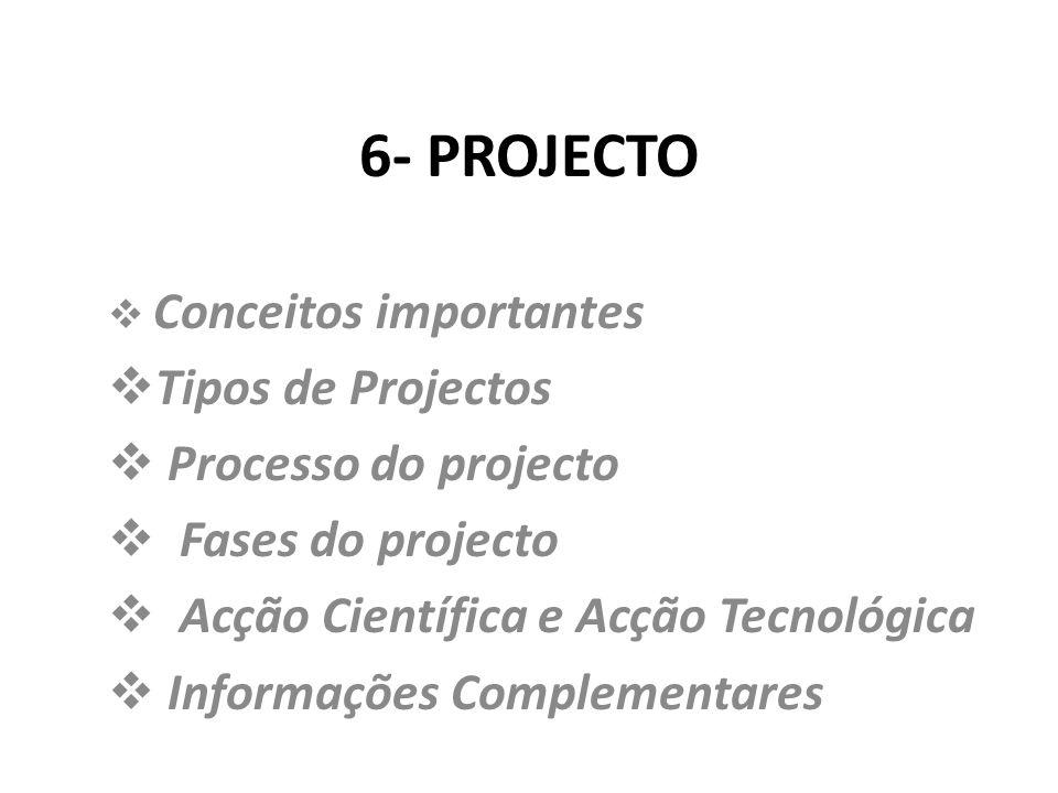 6- PROJECTO Tipos de Projectos Processo do projecto Fases do projecto
