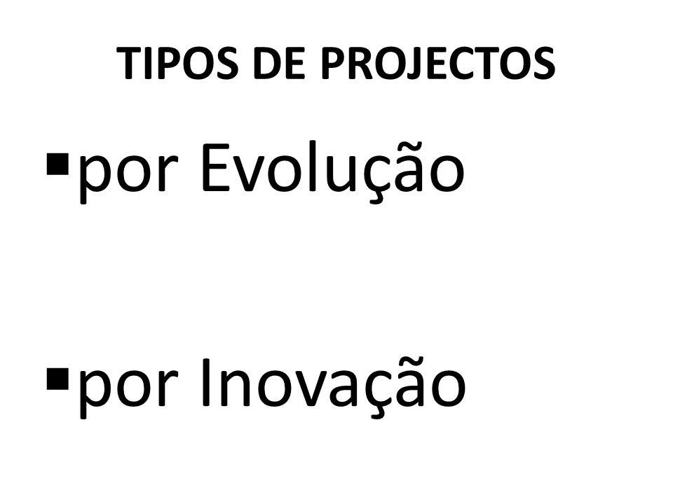 TIPOS DE PROJECTOS por Evolução por Inovação