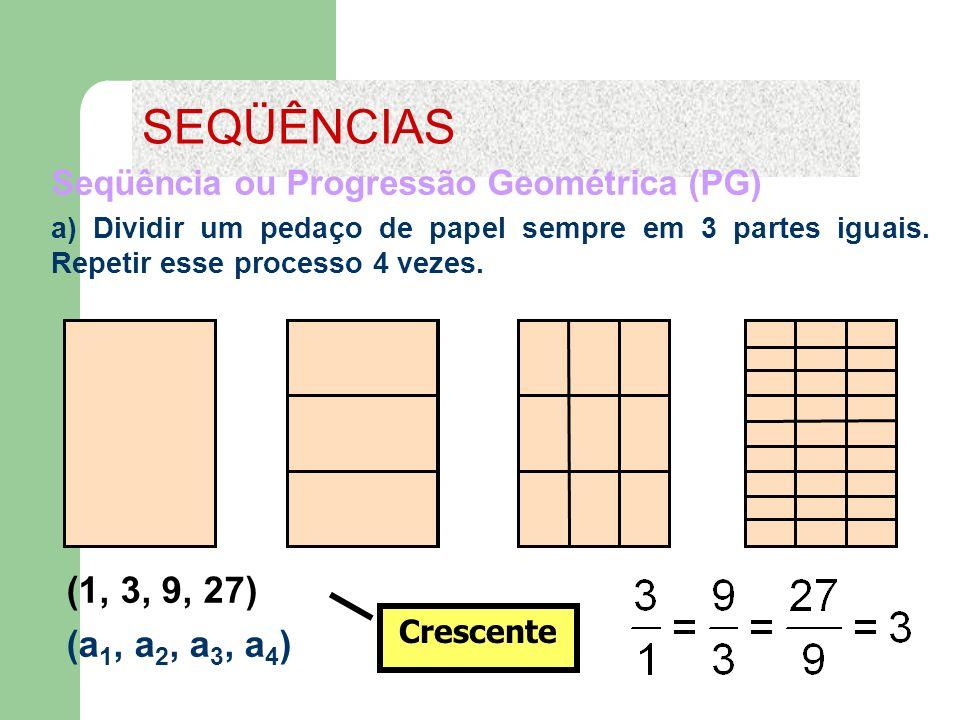 SEQÜÊNCIAS Seqüência ou Progressão Geométrica (PG) a) Dividir um pedaço de papel sempre em 3 partes iguais. Repetir esse processo 4 vezes.