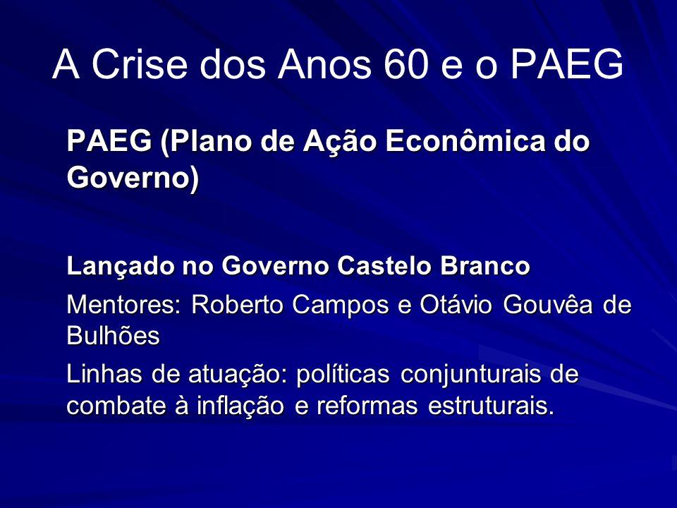 A Crise dos Anos 60 e o PAEG PAEG (Plano de Ação Econômica do Governo)
