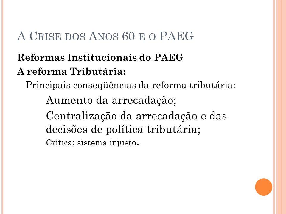 A Crise dos Anos 60 e o PAEG Reformas Institucionais do PAEG. A reforma Tributária: Principais conseqüências da reforma tributária: