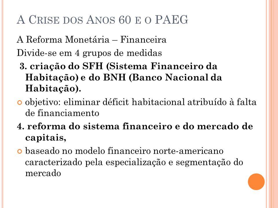 A Crise dos Anos 60 e o PAEG A Reforma Monetária – Financeira