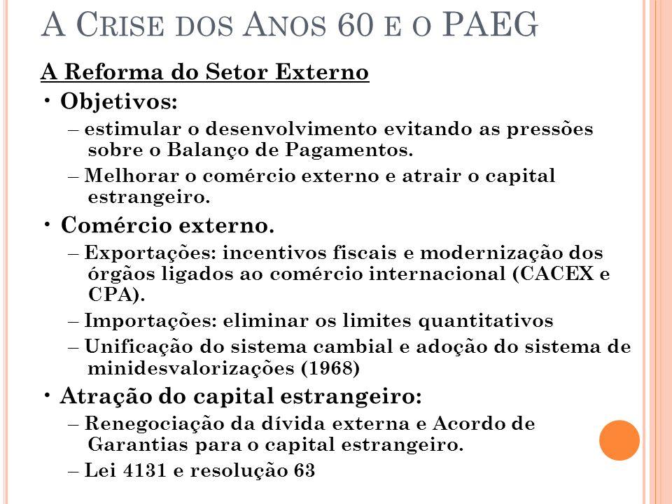A Crise dos Anos 60 e o PAEG A Reforma do Setor Externo • Objetivos: