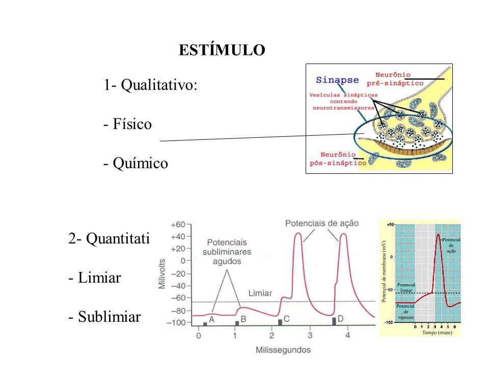 ESTÍMULO 1- Qualitativo: Físico Químico 2- Quantitativo: Limiar Sublimiar