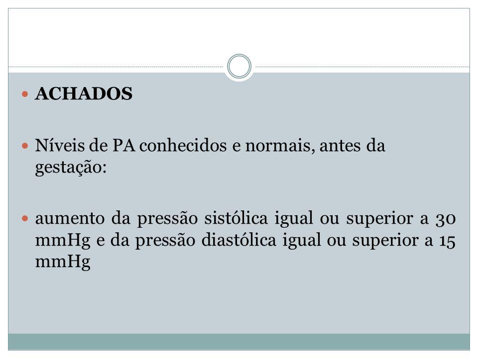 ACHADOS Níveis de PA conhecidos e normais, antes da gestação: