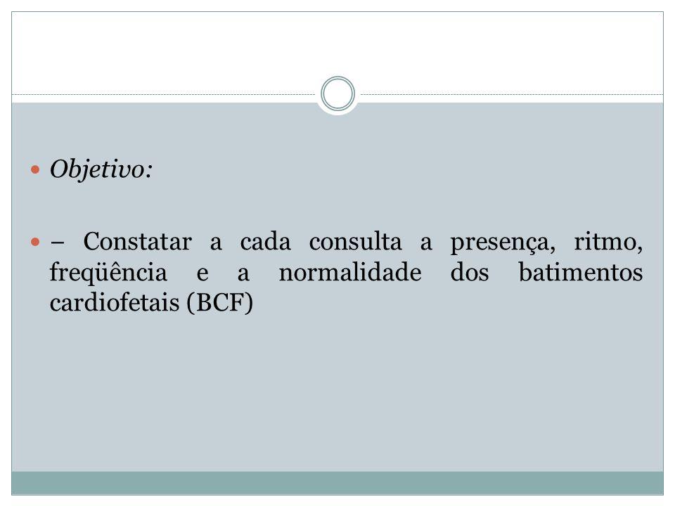 Objetivo:− Constatar a cada consulta a presença, ritmo, freqüência e a normalidade dos batimentos cardiofetais (BCF)