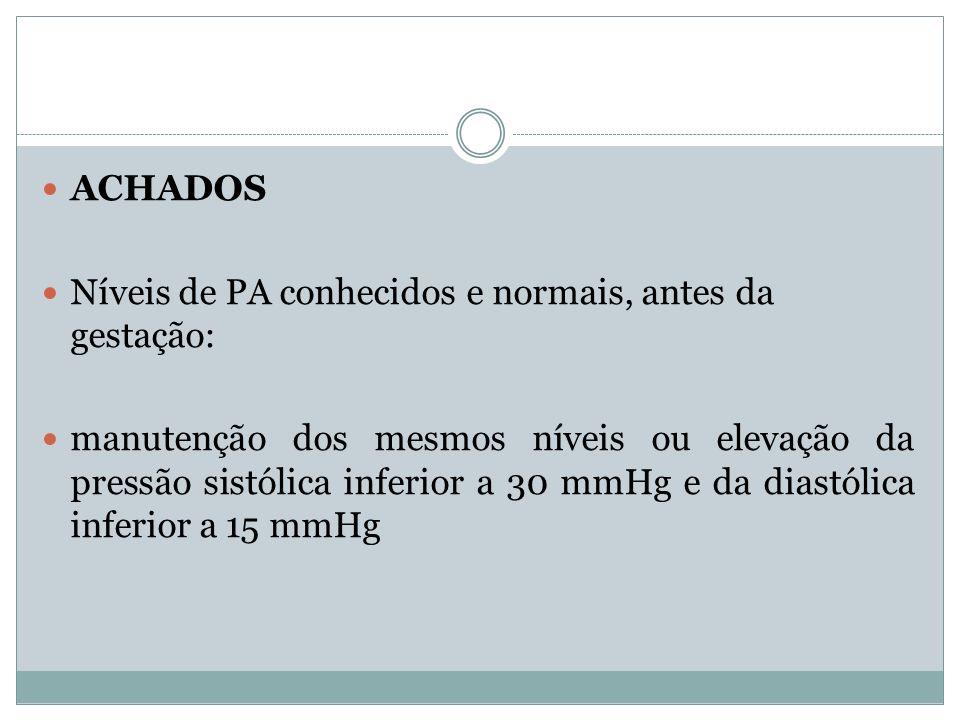 ACHADOSNíveis de PA conhecidos e normais, antes da gestação: