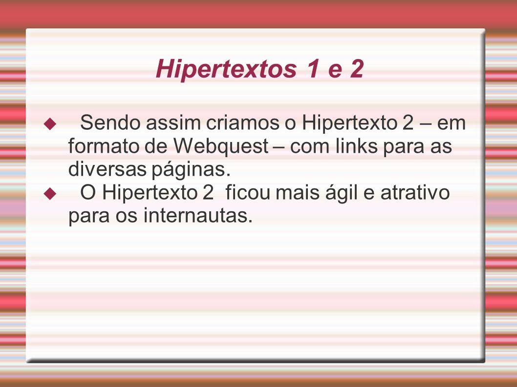 Hipertextos 1 e 2 Sendo assim criamos o Hipertexto 2 – em formato de Webquest – com links para as diversas páginas.