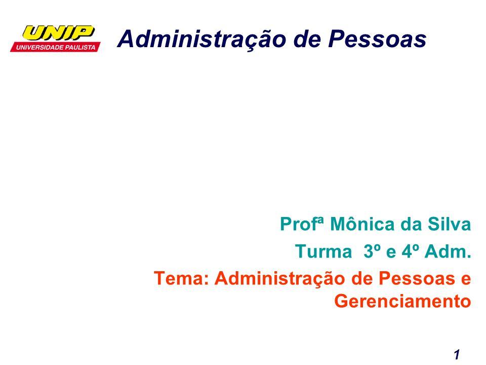 Profª Mônica da Silva Turma 3º e 4º Adm. Tema: Administração de Pessoas e Gerenciamento