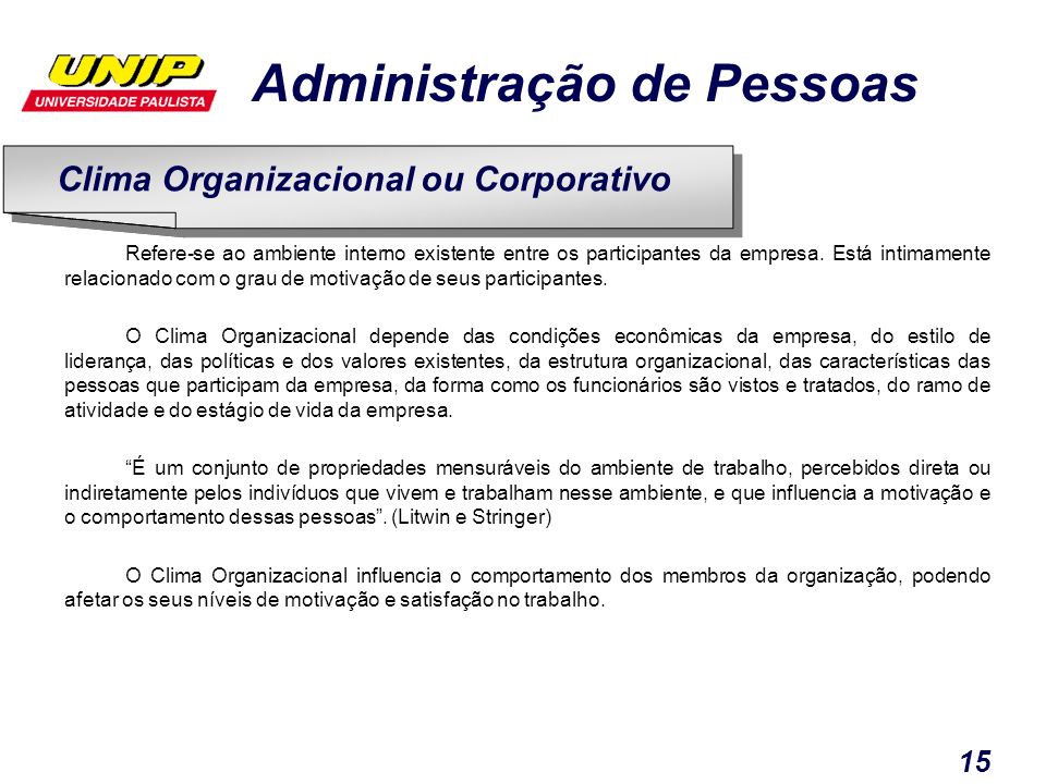 Clima Organizacional ou Corporativo
