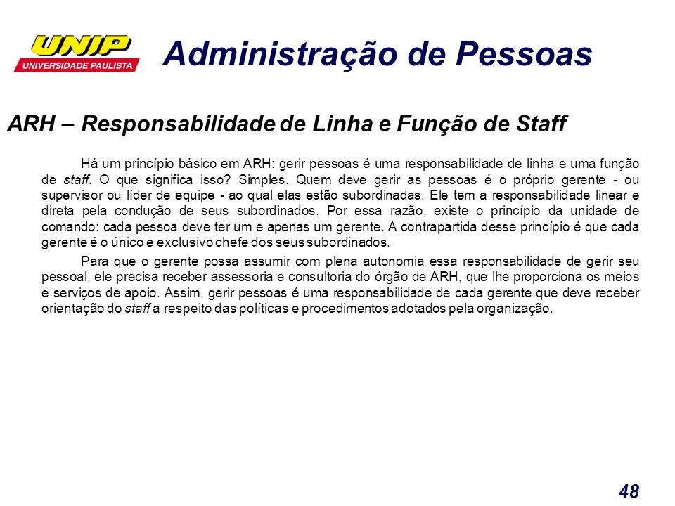 ARH – Responsabilidade de Linha e Função de Staff