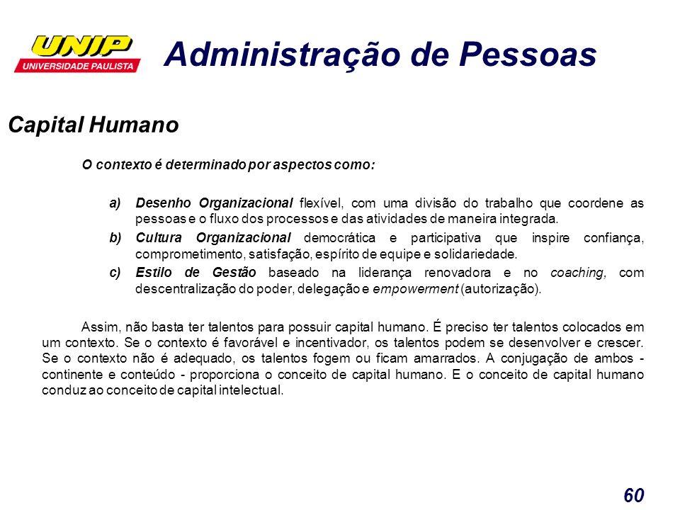Capital Humano O contexto é determinado por aspectos como: