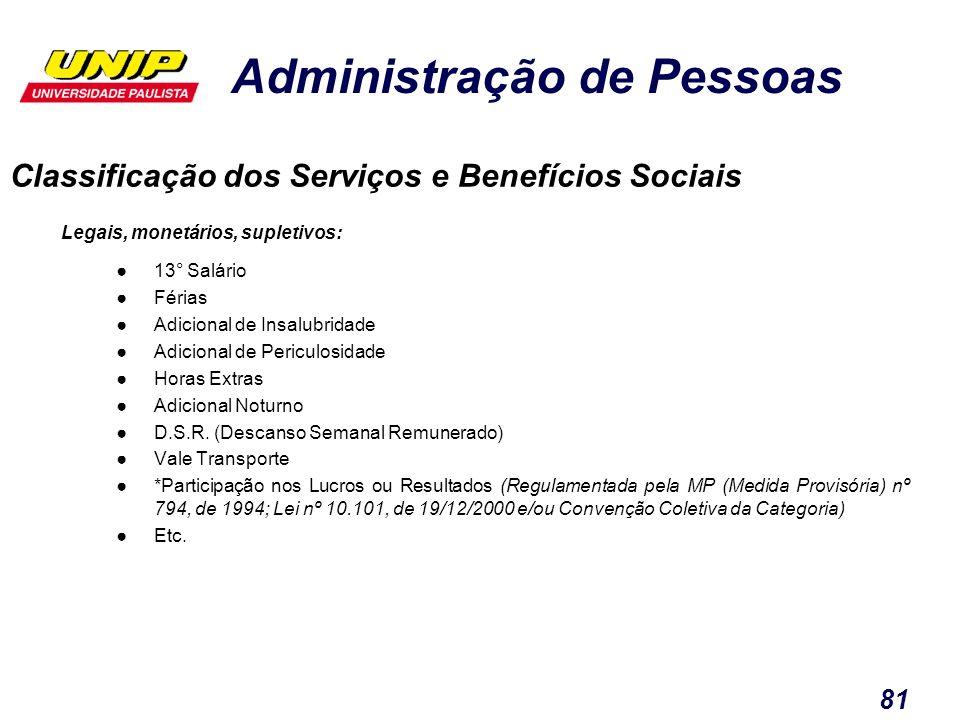 Classificação dos Serviços e Benefícios Sociais