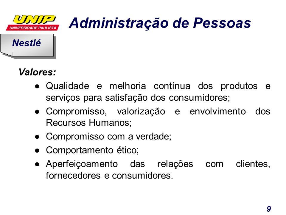Nestlé Valores: Qualidade e melhoria contínua dos produtos e serviços para satisfação dos consumidores;