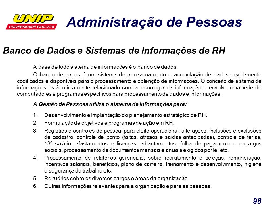 Banco de Dados e Sistemas de Informações de RH