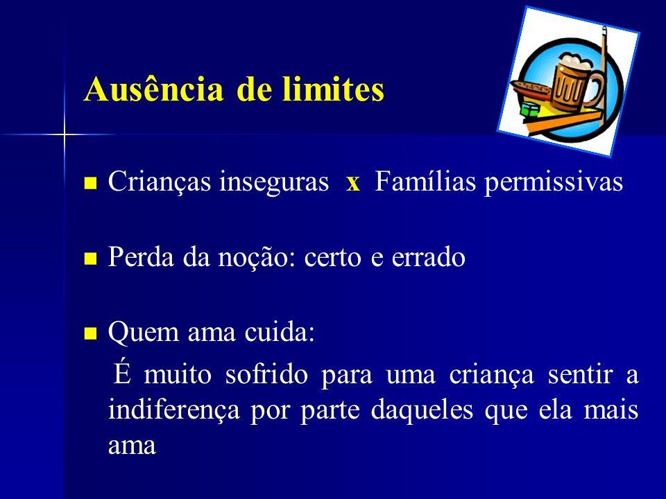 Ausência de limites Crianças inseguras x Famílias permissivas
