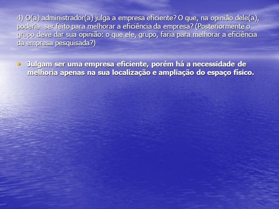 4) O(a) administrador(a) julga a empresa eficiente