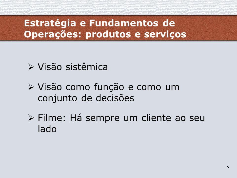 Estratégia e Fundamentos de Operações: produtos e serviços