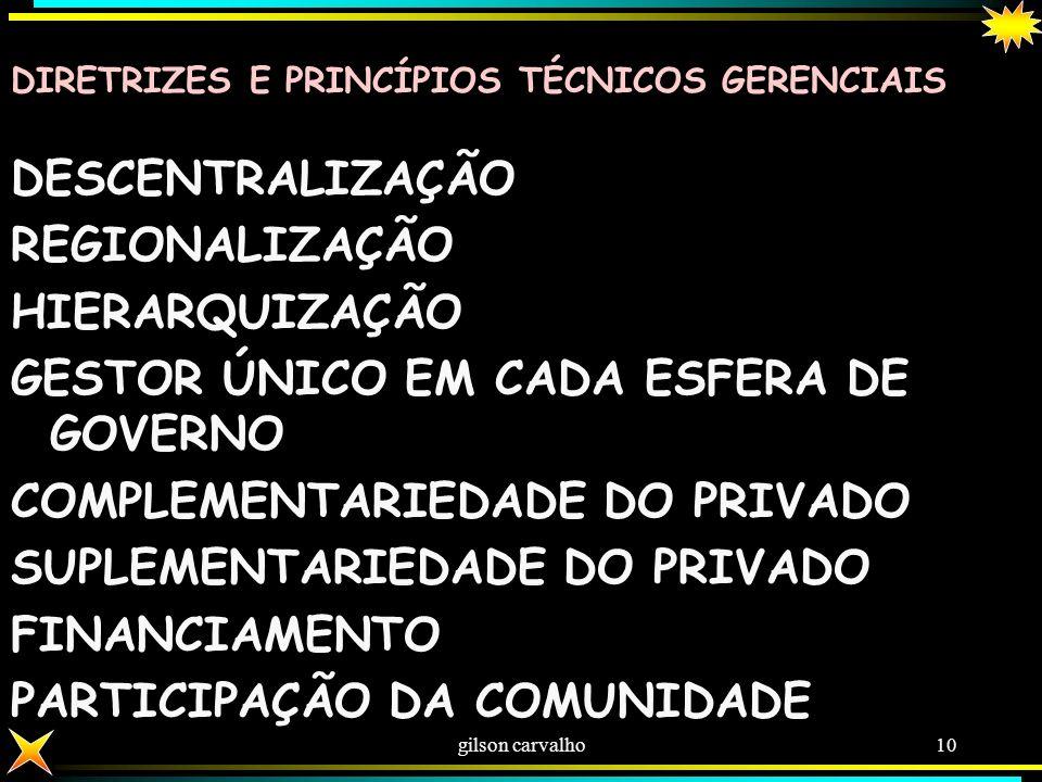 GESTOR ÚNICO EM CADA ESFERA DE GOVERNO COMPLEMENTARIEDADE DO PRIVADO