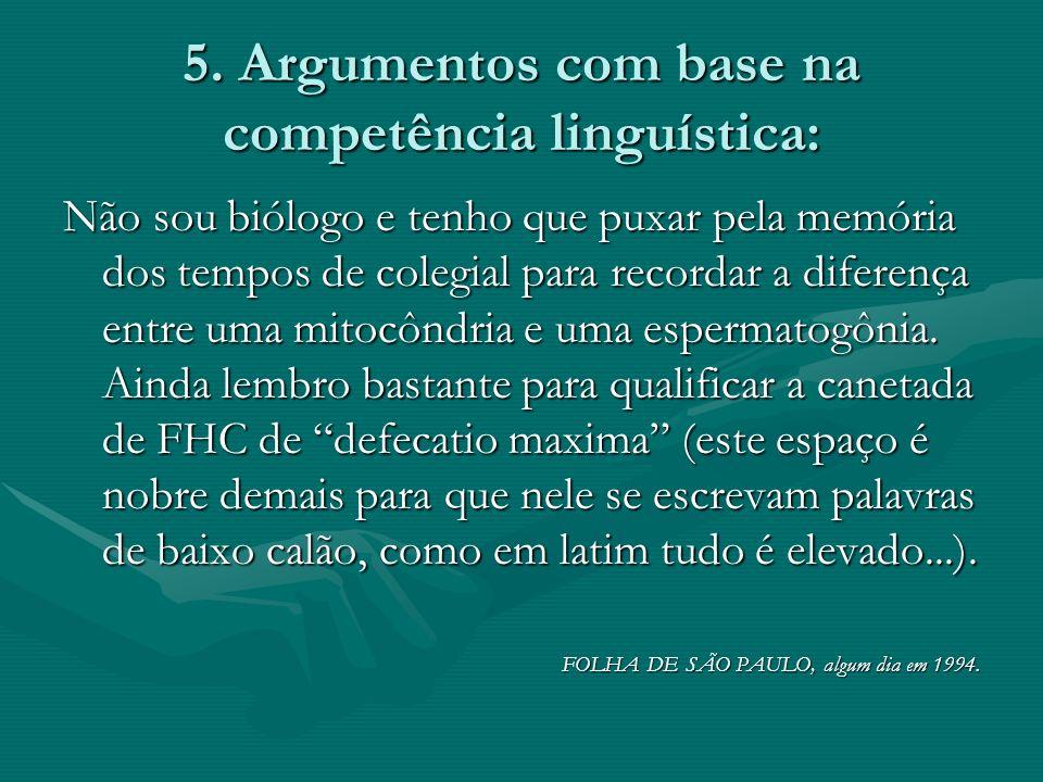 5. Argumentos com base na competência linguística: