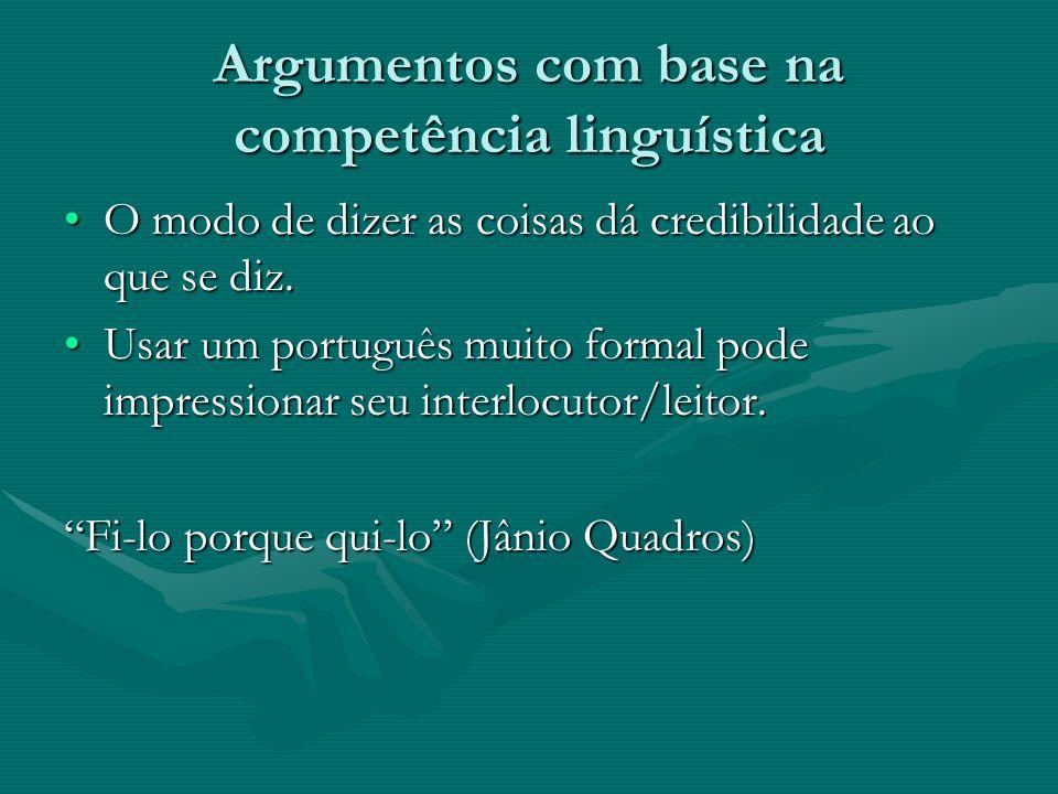 Argumentos com base na competência linguística