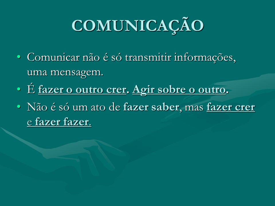 COMUNICAÇÃO Comunicar não é só transmitir informações, uma mensagem.