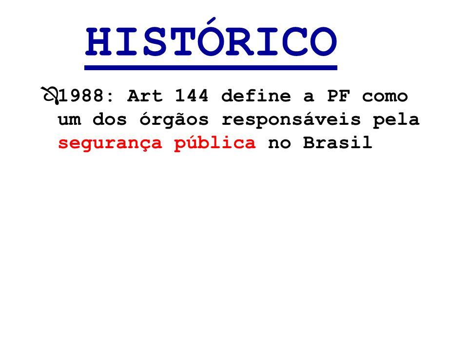HISTÓRICO 1988: Art 144 define a PF como um dos órgãos responsáveis pela segurança pública no Brasil.