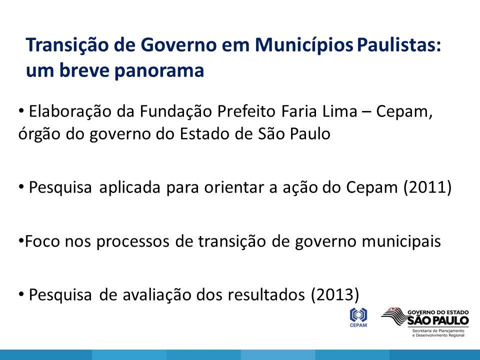 Transição de Governo em Municípios Paulistas: um breve panorama