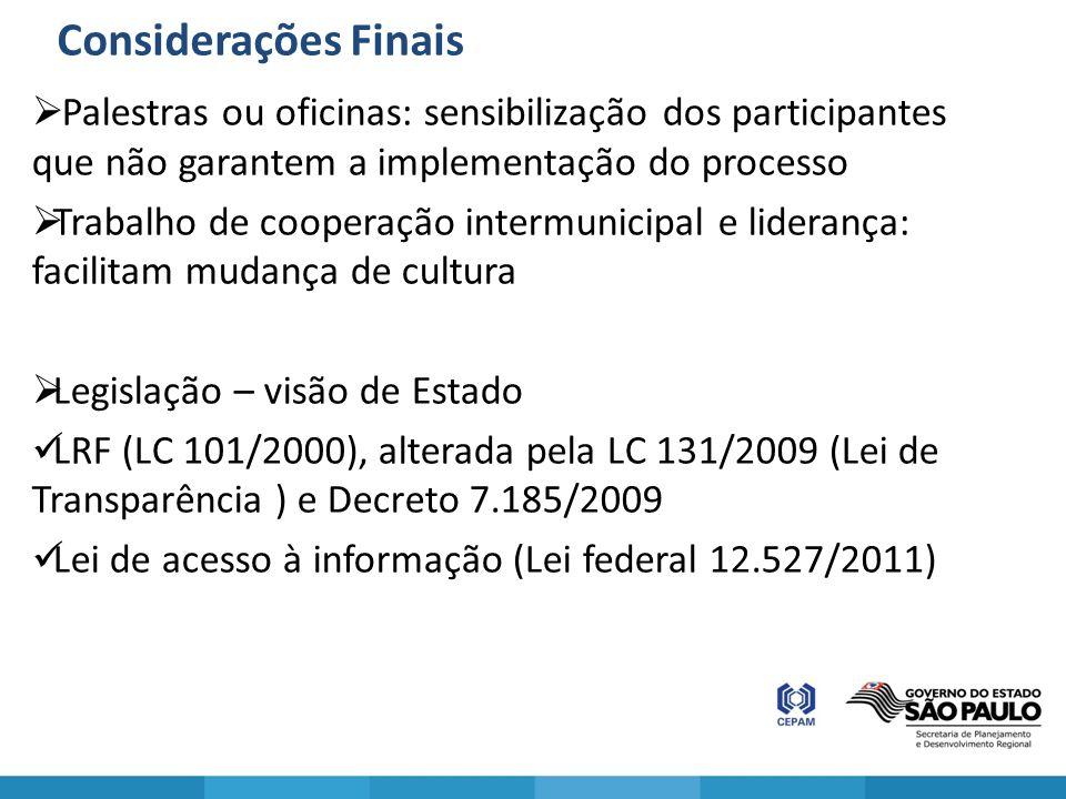 Considerações Finais Palestras ou oficinas: sensibilização dos participantes que não garantem a implementação do processo.